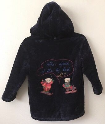 Vtg girls Jacket Snow coat Italian italy ski Sled Embroidered  Bears  S 6 7 Blue