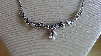 antiqued sterling silver and pearl necklace