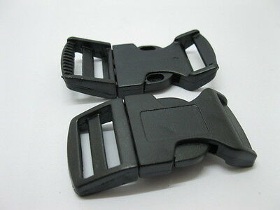 100 Sets Black Contoured Side Release Buckles 25mm