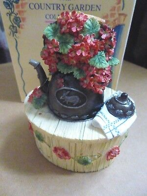 Boxed Willow Hall Country Garden Collection Antique Kettle Trinket Box Ornament