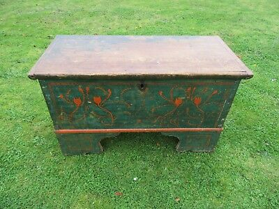 Antique Pine Painted Box/continental/great Coffee Table/please Look.