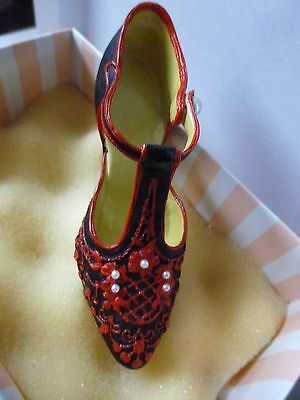Boxed Black & Red Mini Shoe Ornament decorated with Faux Pearls StunningOrnament
