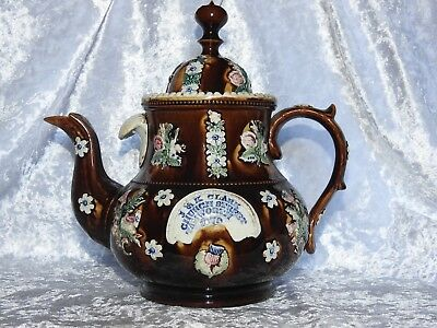 Measham Barge Ware Teapot And Cover - Dated 1879