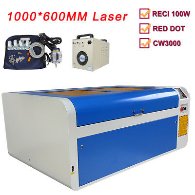 CO2 laser cutter 1060 100W laser cutting engraving machine & 80mm rotary US Ship