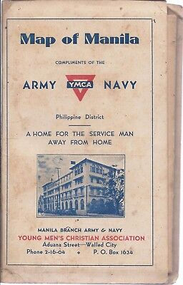 Pre-War ARMY-NAVY YMCA Map of Manila, Philippine District