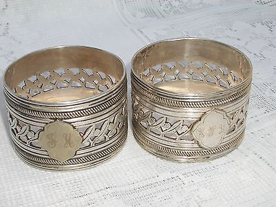 Pair Of Antique Christofle Silver Plate Napkin Rings 1930s