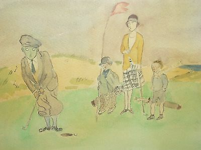 1930s Framed Golfing Cartoon Picture