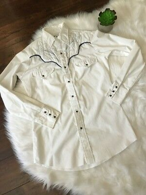 Vintage Western Shirt Womens Small Embroidered Pearl Snap Denver White Blue