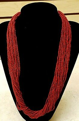 20 Strand Glass Coral Colored Beaded Lrg.silver Beads Western Americana Necklace