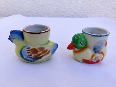 Egg Cups Made in Occupied Japan Vintage,Duck and Chicken Figures