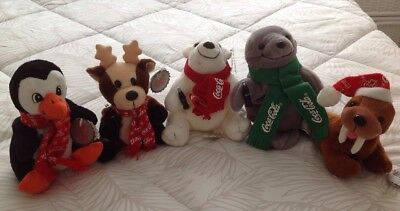 VINTAGE 1998 Collectible Coca-Cola Bean Bag Plush Set of 5 Christmas Themes NWT