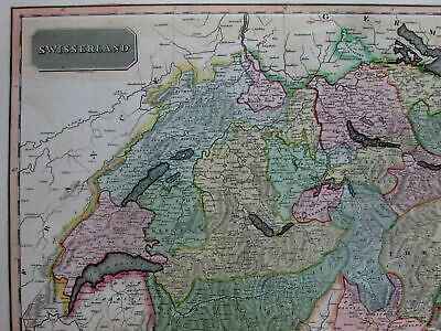 Swisserland Switzerland Geneva Mount Blanc Alps view 1817 Thomson old map