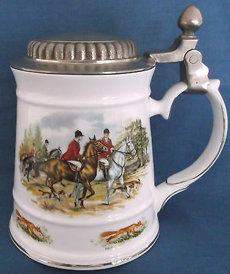 Royal Tara Stein Mullinger Pewter Lid Fox Hunting Horses Hounds Galway Ireland