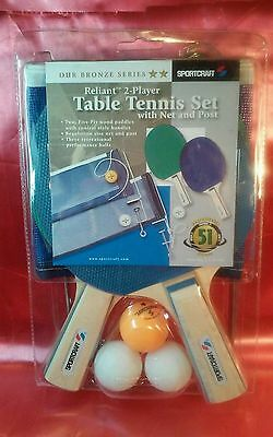 SPORTCRAFT Reliant 2 Player Table Tennis Set With Net & Post NIP NEVER USED