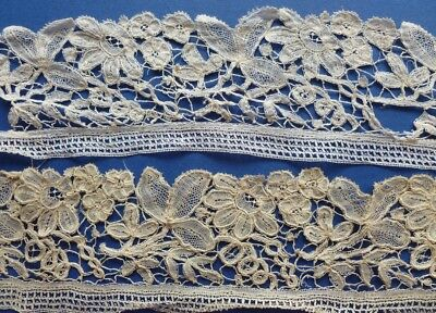 A 2.95 Metre Length Of Victorian Brussels Duchesse De Bruge Lace & Another Piece