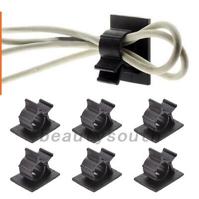 10pc Cable Clips Adhesive Cord Management Wire Holder Organizer Black Clamp