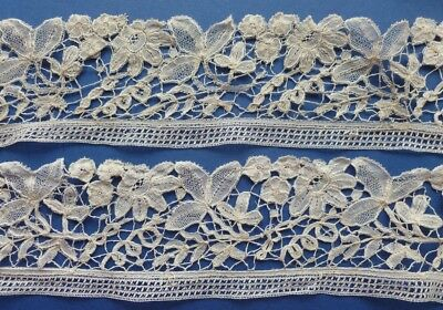 A 2.50 Metre Length Of Victorian Brussels Duchesse De Bruge Lace & Another Piece