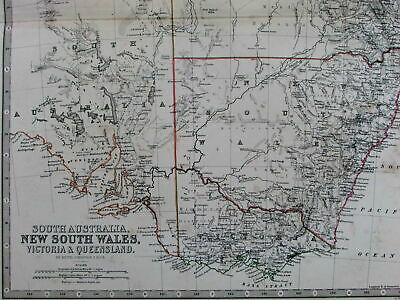 New South Wales Australia Victoria Queensland Cape York 1868 old Johnston map