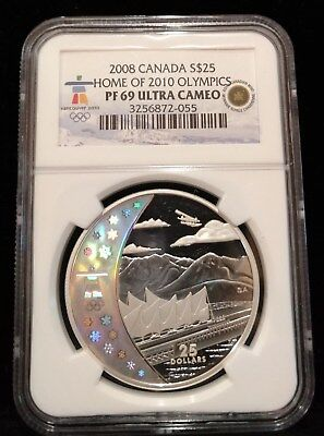 2008 Canada Sterling Silver $25 Coin Home of 2010 Olympics NGC PF69
