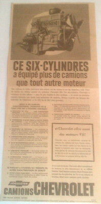 1962 Chevrolet Six Cylinders Motor Trucks Original Ad In French