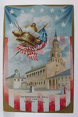 1910 Tuck INDEPENDENCE HALL & LIBERTY BELL 4th of July embossed postcard