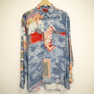 80s / 90s Vintage Abstract Festival Long Sleeve Shirt: Size L / XL / Oversize