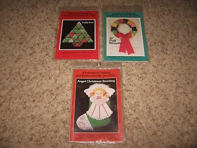 LOT OF 3 1980's XMAS PATCHWORK PATTERNS by YOURS TRULY~TREE,WREATH,STOCKING VGC