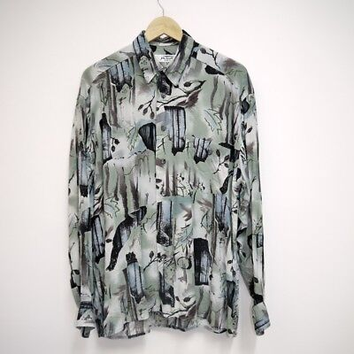 80s / 90s Vintage Abstract Festival Long Sleeve Shirt: Size M / L / Oversize