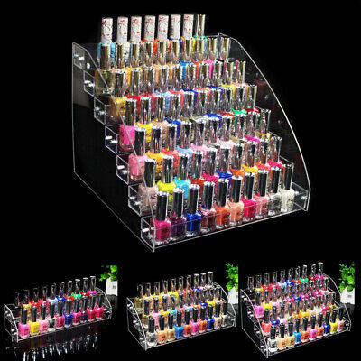 Acrylic 2-7 Tiers Organizer Lipstick Display Storage Stand Nail Polish Rack Hot