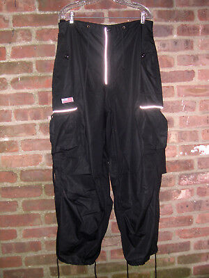 Black UFO Drawstring Hip Hop/Parachute/Dance/Rave Pants, Reflective Trim