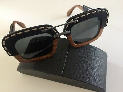 02c897368cc1 PRADA RAW SPR 26R Wood Square Black Leather Sunglasses Brown CASE NOT  INCLUDED.