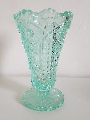 Rare Turquoise Imperial Glass Diamond Lace Footed Vase