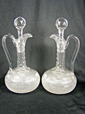 PAIR Antique Brilliant Cut Glass Decanters with Stoppers