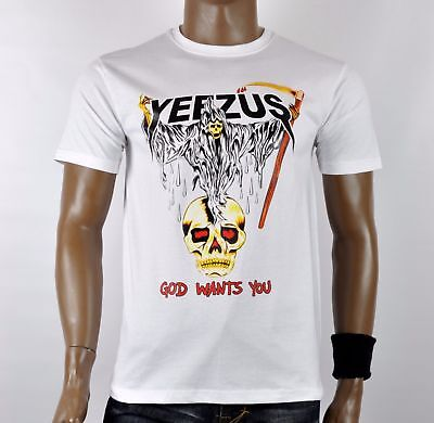 1de4a6a7 WHITE KANYE RED Indian yeezus tour skeleton White T-Shirt west ...
