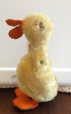 Vintage Steiff Plush Straw Filled Duck with Button
