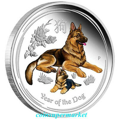 Australian 2018 Year Of Dog Chinese Lunar Zodiac 1 oz Silver Proof Coloured Coin