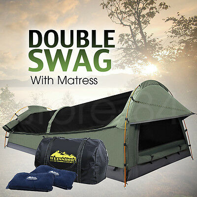 Double Dome SWAG Camping Canvas Tent SET with Mattress & 2 Pillows - CELADON