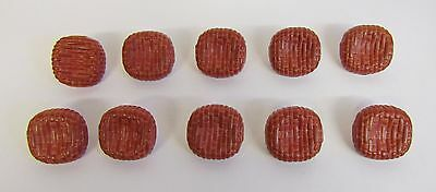 """Vintage * 10 Red Brick Wall Style Buttons * 1 1/8"""" (21 mm) Diameter"""