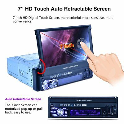 """Full Automatic Universal Single Din 7"""" HD Touch Retractable Screen MP5 Playe PL"""