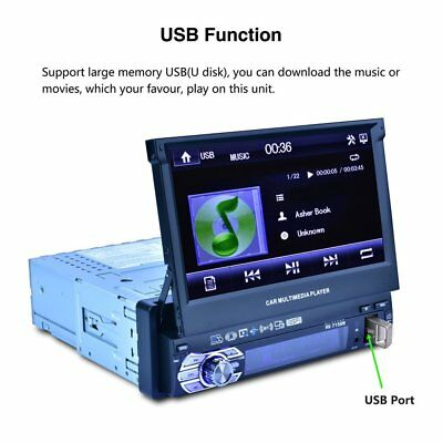 """Full Automatic Universal Single Din 7"""" HD Touch Retractable Screen MP5 Playe PQ"""