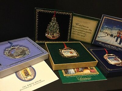 White House Historical Assoc.Christmas Ornaments Lot Of 4 & Pamphlets