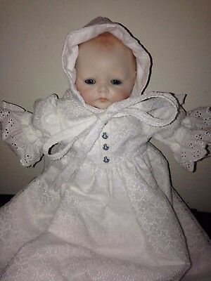 1979 El Horsman Callig Bisque Doll With Stuffed Body Wearing Christening Gown
