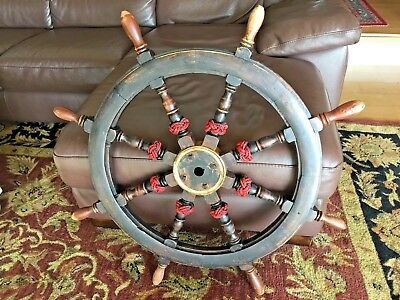 Unique 34 Inch Antique Ship's Wheel With Marlinspike Knot Work On Spokes