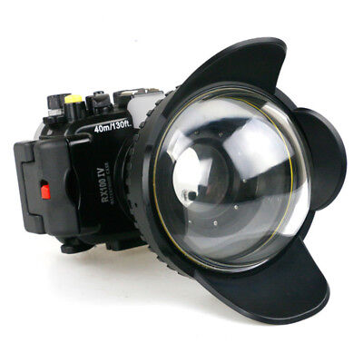 Meikon 40m Waterproof Case Cover +Fisheye Wide Angle Dome Port For Sony RX100 IV