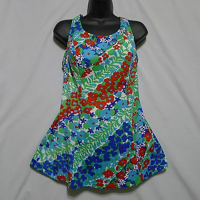 Swimsuit Sears Floral Convertible Skirted 1970s Ladies 36C Colourful