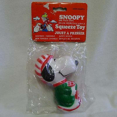Snoopy Vinyl Squeeze Toy Chantex Determined Production Christmas Stocking NOS