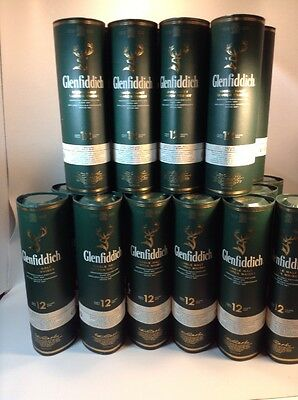 Glenfiddich Container Tin Single Malt Whisky 12 Year Green Empty Box lot of 24