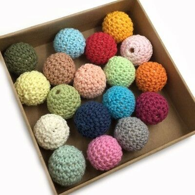 50Pcs Round Crochet Wood Beads DIY Baby Nursing Teething Necklace Jewelry Making