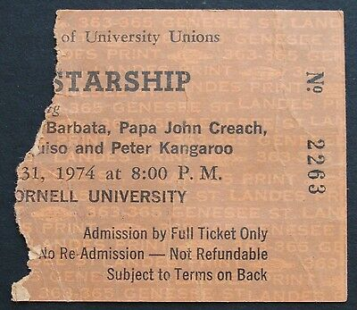Jefferson Starship 1974 Ticket Stub~Bailey Hall, Cornell Univ., Ithaca, New York