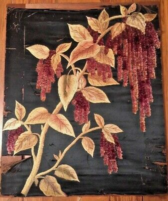 Rare Antique Victorian Society Silk Art Needlework Embroidery Amaranthus Flowers